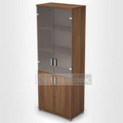 Офисный шкаф со стеклянными дверками высокий