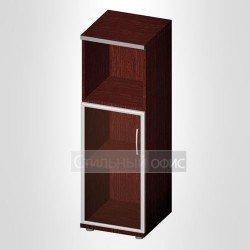Офисный шкаф средний узкий полузакрытый со стеклом