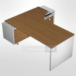 Стол руководителя эргономичный правый для офиса на опорной тумбе с ящиками