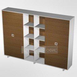 Шкаф-купе офисный комбинированный высокий (одежда- документы-документы) в кабинет руководителя
