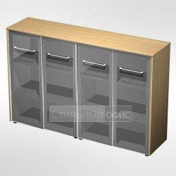 Шкаф для документов со стеклянными дверьми (стенка из 2 шкафов) в кабинет руководителя