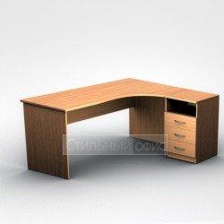 Стол офисный эргономичный правый с приставной тумбой