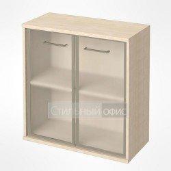 Шкаф низкий широкий со стеклом в рамке