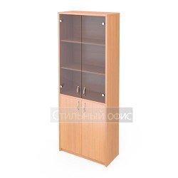 Шкаф широкий со стеклянными тонированными дверками