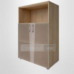 Шкаф средний широкий с низкими стеклянными дверками