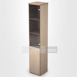 Шкаф в офис узкий высокий со стеклом
