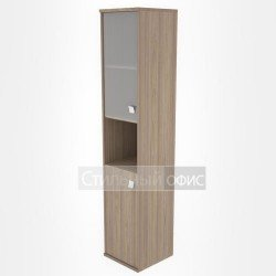 Шкаф высокий узкий полузакрытый со стеклом