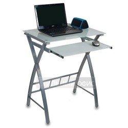 Стеклянный компьютерный стол на металлокаркасе белый