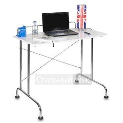 Стол для компьютера белый на металлокаркасе