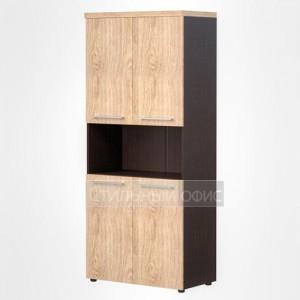 Шкаф с открытой нишей высокий широкий офисный для руководителя