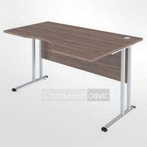 Стол эргономичный правый на металлокаркасе офисный для персонала
