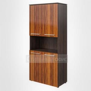 Шкаф высокий широкий с открытой нишей офисный для руководителя
