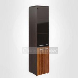 Шкаф высокий узкий со стеклом и глухими дверьми правый офисный для руководителя
