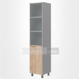 Шкаф высокий со стеклом узкий правый офисный для сотрудников