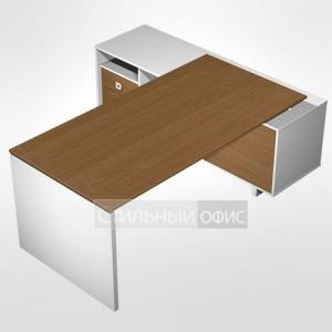 Стол руководителя прямой для офиса на опорной тумбе с ящиками (левый/правый)