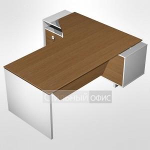 Стол руководителя эргономичный левый для офиса с экраном на опорной тумбе с ящиками