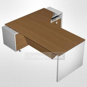 Стол руководителя эргономичный правый для офиса с экраном на опорной тумбе с ящиками