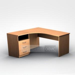 Стол офисный эргономичный левый с приставной тумбой