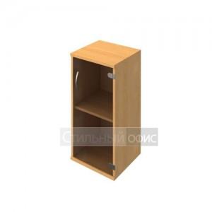 Шкаф низкий узкий со стеклянной дверью