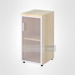 Шкаф узкий низкий правый со стеклом в раме офисный для персонала
