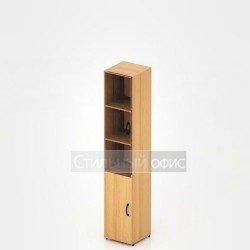 Шкаф узкий высокий со стеклом для офиса
