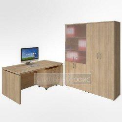 Кабинет руководителя со шкафом для документов и гардеробом акация