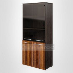 Шкаф со стеклом офисный для руководителя полузакрытый