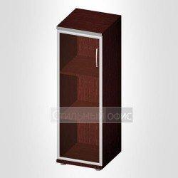 Офисный шкаф средний узкий закрытый со стеклом