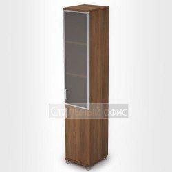Шкаф узкий высокий со стеклянной дверкой в рамке