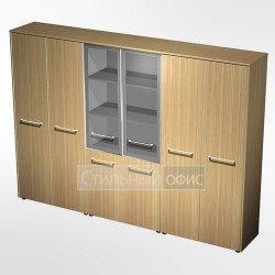 Шкаф комбинированный (стекло - одежда - закрытый) в кабинет руководителя