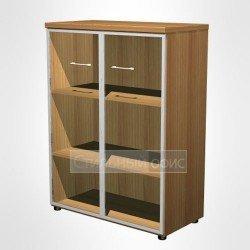 Шкаф для документов средний со стеклянными дверьми в рамке в офис для кабинета руководителя