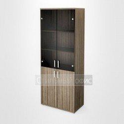 Шкаф широкий высокий со стеклянными дверками