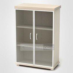 Шкаф низкий с дверками в алюминиевой рамке