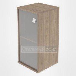 Шкаф низкий узкий закрытый со стеклом