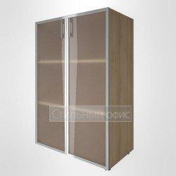 Шкаф средний широкий со стеклянными дверками в раме