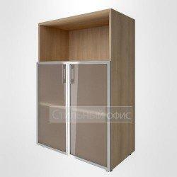 Шкаф средний с низкими стеклянными дверками в раме