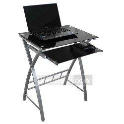 Стеклянный компьютерный стол на металлокаркасе