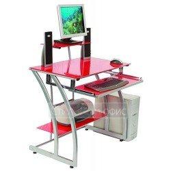 Стеклянный компьютерный стол с надставкой красный