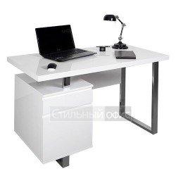 Стол для компьютера белый с тумбой