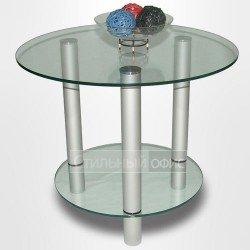 Столик журнальный стеклянный на металлических опорах