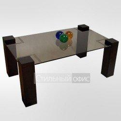 Столик журнальный прямоугольный с тонированным стеклом