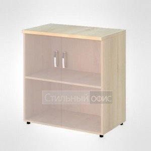 Шкаф широкий низкий со стеклом без рамы офисный для персонала