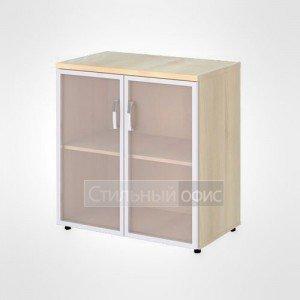 Шкаф широкий низкий со стеклом с рамой офисный для персонала