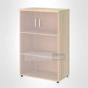 Шкаф широкий средний со стеклом без рамы офисный для персонала