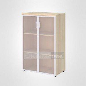 Шкаф широкий средний со стеклом в раме офисный для персонала