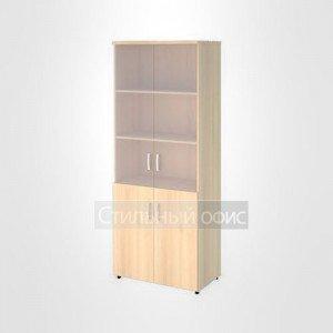 Шкаф широкий высокий со стеклом без рамы и глухими дверьми офисный для персонала