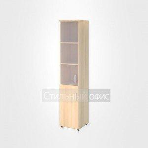 Шкаф со стеклом без рамы и глухими дверьми левый узкий высокий офисный для персонала