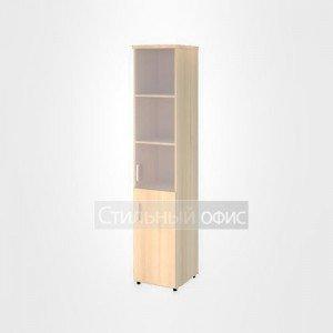 Шкаф со стеклом без рамы и глухими дверьми правый узкий высокий офисный для персонала