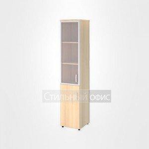 Шкаф со стеклом в раме и глухими дверьми левый узкий высокий офисный для персонала