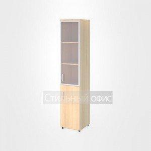 Шкаф со стеклом в раме и глухими дверьми правый высокий офисный для персонала